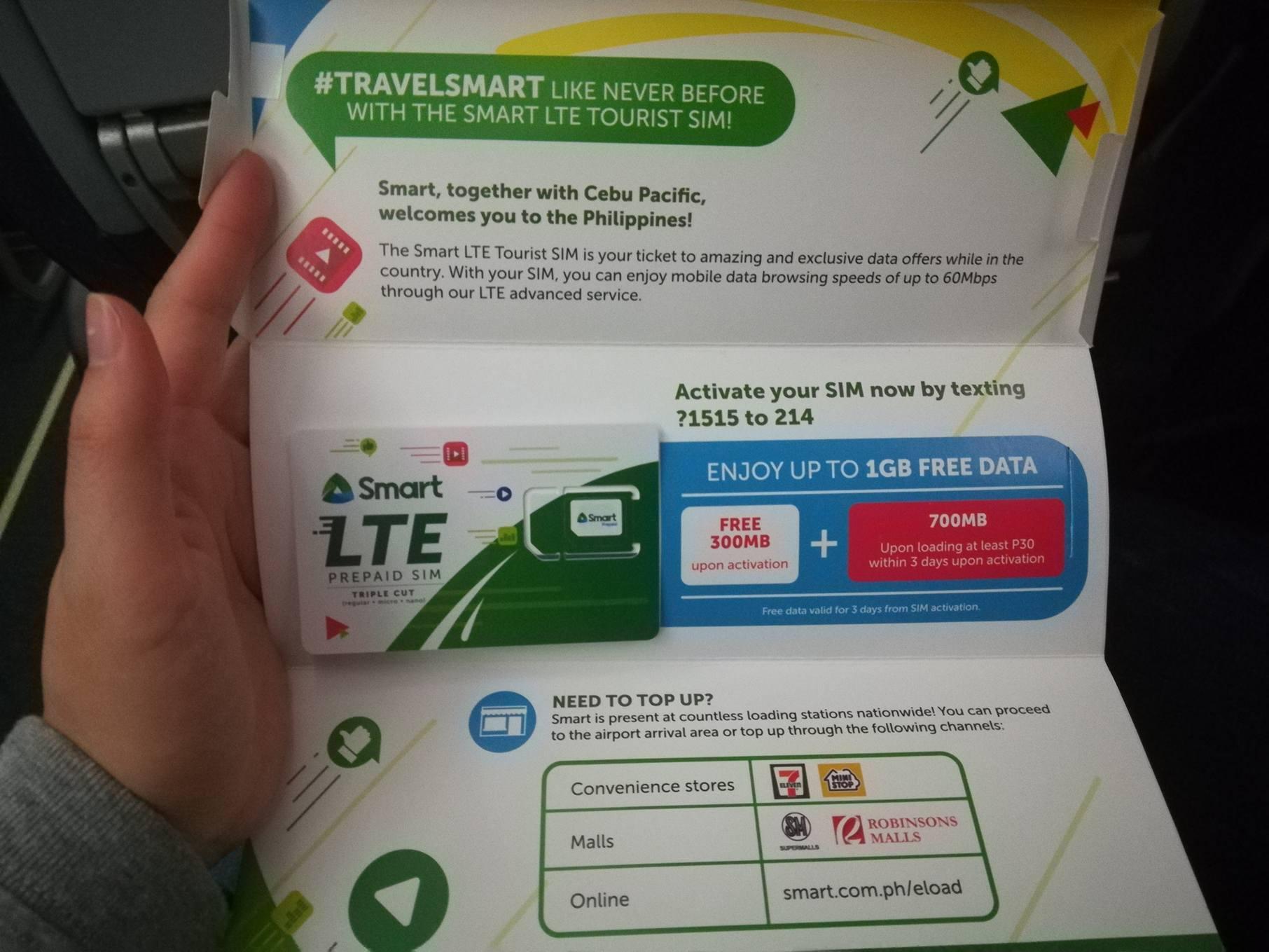観光客必見!セブパシフィック航空機内で無料で貰える携帯電話のSIMカードを使ってみた!